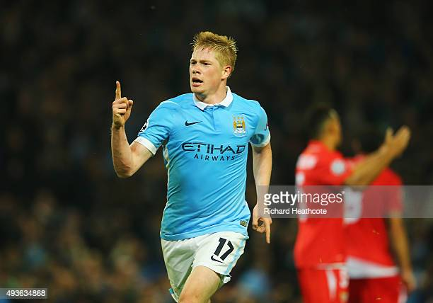Kevin De Bruyne of Manchester City celebrates scoring his team's second goal during the UEFA Champions League Group D match between Manchester City...