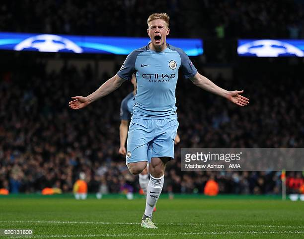 Kevin de Bruyne of Manchester City celebrates scoring his team's second goal to make the score 21 during the UEFA Champions League match between...