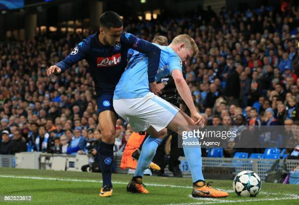 Kevin De Bruyne of Manchester City FC in action against Adam Ounas of SSC Napoli during the UEFA Champions League Group F soccer match between...