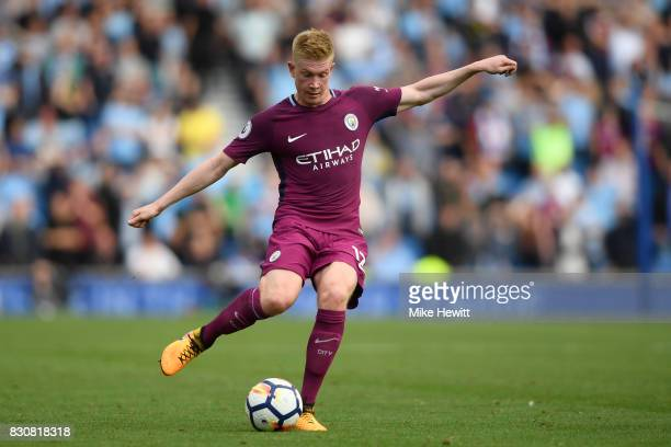 Kevin De Bruyne of Manchester City in action during the Premier League match between Brighton and Hove Albion and Manchester City at Amex Stadium on...