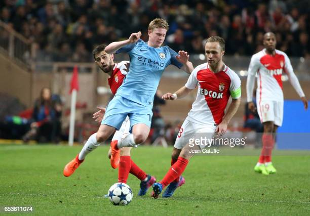 Kevin De Bruyne of Manchester City in action with Bernardo Silva and Valere Germain of Monaco during the UEFA Champions League Round of 16 second leg...