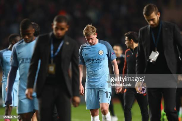 Kevin De Bruyne of Manchester City looks dejected in defeat after the UEFA Champions League Round of 16 second leg match between AS Monaco and...