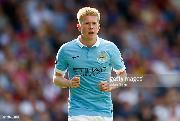 Kevin De Bruyne of Manchester City looks on during the Barclays Premier League match between Crystal Palace and Manchester City at Selhurst Park on...