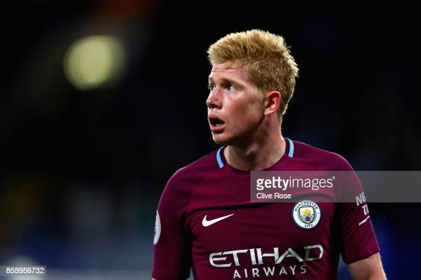Kevin De Bruyne of Manchester City looks on during the Premier League match between Chelsea and Manchester City at Stamford Bridge on September 30...