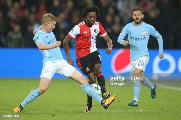 Kevin DE Bruyne of Manchester City Miguel Nelom of Feyenoord Bernardo Silva of Manchester City during the UEFA Champions League group F match between...