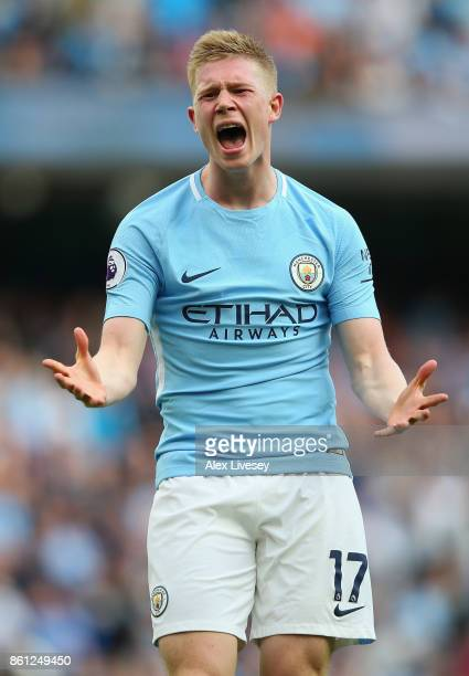 Kevin De Bruyne of Manchester City reacts during the Premier League match between Manchester City and Stoke City at Etihad Stadium on October 14 2017...