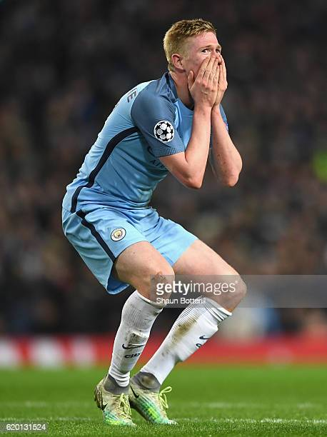 Kevin De Bruyne of Manchester City reacts to missing a chance during the UEFA Champions League Group C match between Manchester City FC and FC...