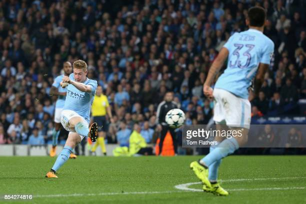 Kevin De Bruyne of Manchester City scores his sides first goal during the UEFA Champions League Group F match between Manchester City and Shakhtar...