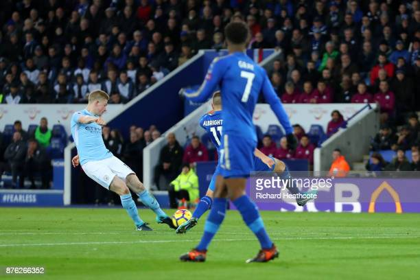 Kevin De Bruyne of Manchester City scores his side's second goal during the Premier League match between Leicester City and Manchester City at The...