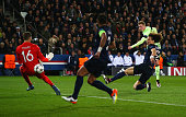 Kevin de Bruyne of Manchester City scores his team's first goal during the UEFA Champions League Quarter Final First Leg match between Paris...