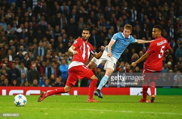 Kevin De Bruyne of Manchester City scores his team's second goal during the UEFA Champions League Group D match between Manchester City and Sevilla...