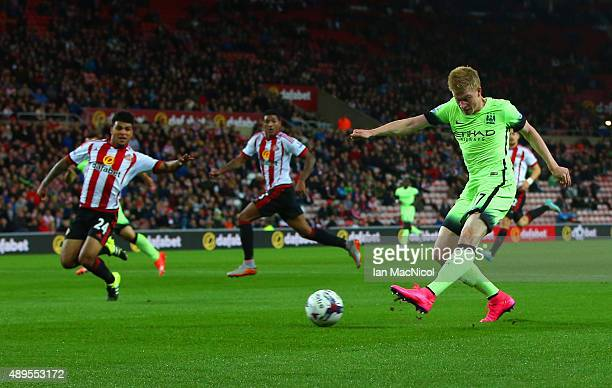 Kevin de Bruyne of Manchester City scores their second goal during the Capital One Cup third round match between Sunderland and Manchester City at...