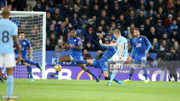 Kevin De Bruyne of Manchester City scores to make it 02 during the Premier League match between Leicester City and Manchester City at The King Power...