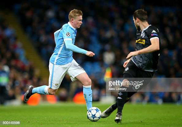 Kevin de Bruyne of Manchester City takes on Havard Nordtveit of Borussia Moenchengladbach during the UEFA Champions League Group D match between...