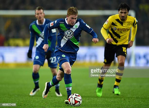 Kevin De Bruyne of VfL Wolfsburg controls the ball during the Bundesliga match between Borussia Dortmund and VfL Wolfsburg at Signal Iduna Park on...