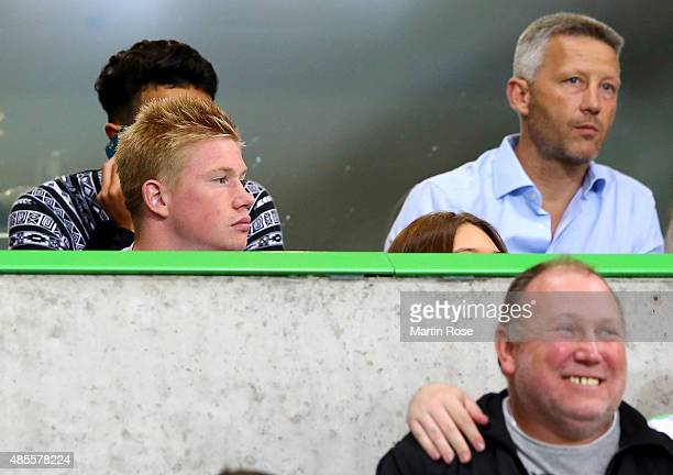 Kevin de Bruyne of Wolfburg is seen during the Bundesliga match between VfL Wolfsburg and FC Schalke 04 at Volkswagen Arena on August 28 2015 in...