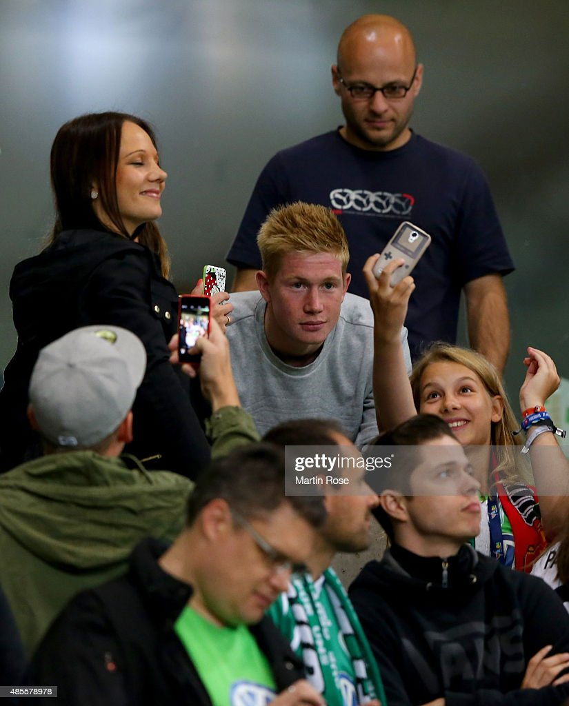 Kevin de Bruyne of Wolfburg is seen with fans during the Bundesliga match between VfL Wolfsburg and FC Schalke 04 at Volkswagen Arena on August 28, 2015 in Wolfsburg, Germany.