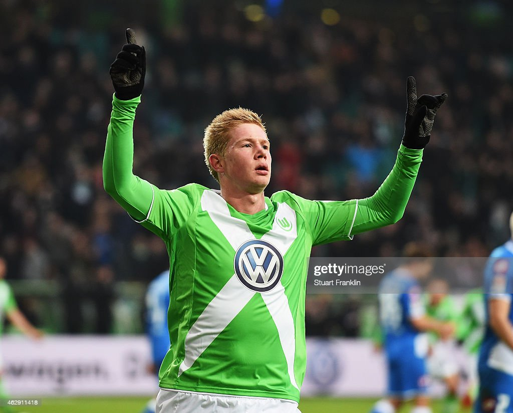 <a gi-track='captionPersonalityLinkClicked' href=/galleries/search?phrase=Kevin+De+Bruyne&family=editorial&specificpeople=6165471 ng-click='$event.stopPropagation()'>Kevin De Bruyne</a> of Wolfsburg celebrates scoring his goal during the Bundesliga match between VfL Wolfsburg and 1899 Hoffenheim at Volkswagen Arena on February 7, 2015 in Wolfsburg, Germany.