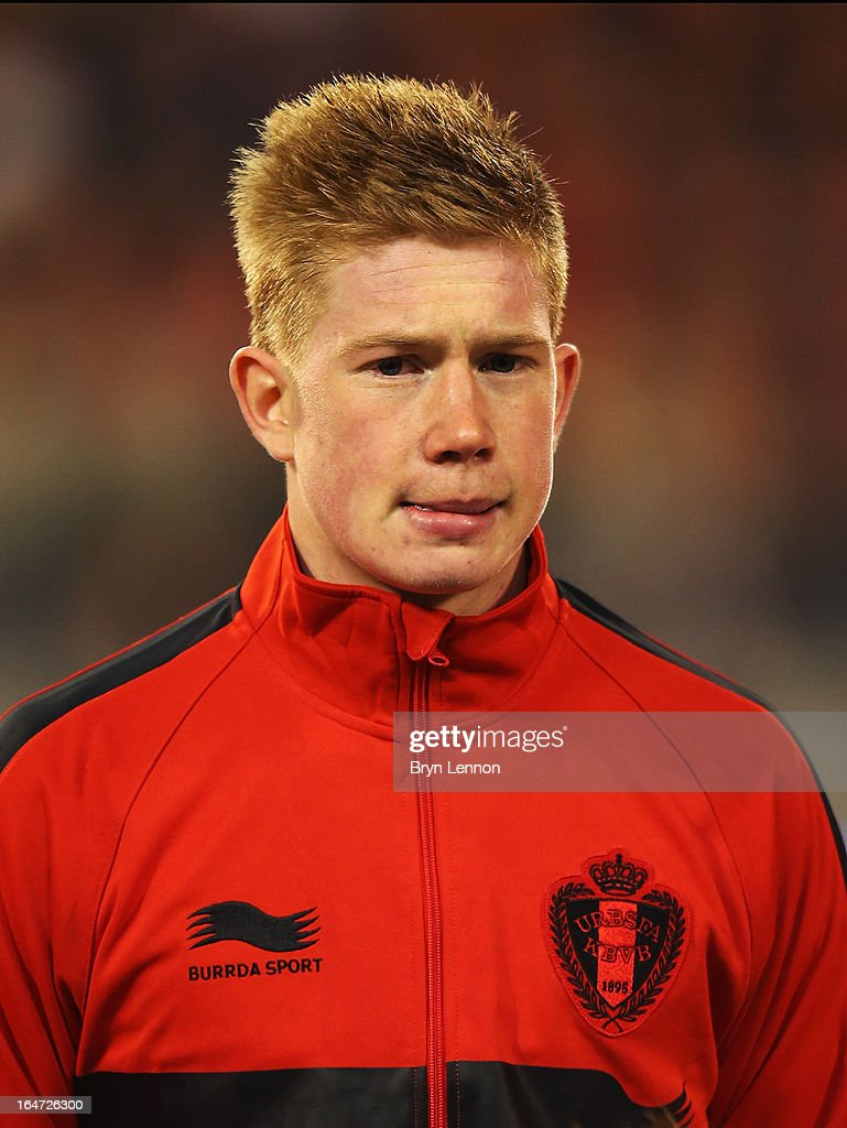 Kevin de Bruyne stands for the national anthems prior to the FIFA 2014 World Cup Qualifier between Belgium and Macedonia at Stade Roi Baudouis on March 26, 2013 in Brussels, Belgium.