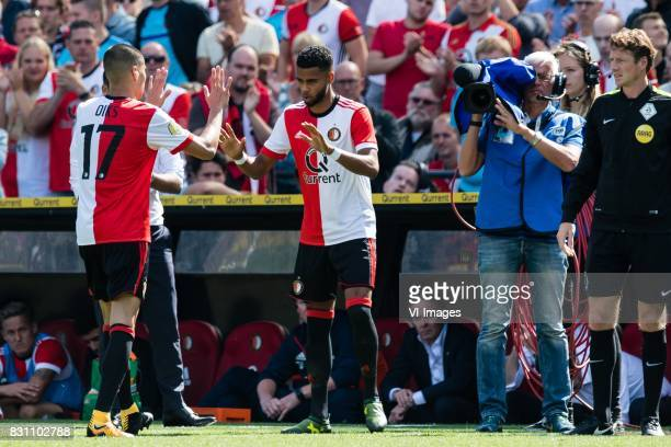 Kevin Diks of Feyenoord Jeremiah St Juste of Feyenoord during the Dutch Eredivisie match between Feyenoord Rotterdam and FC Twente at the Kuip on...