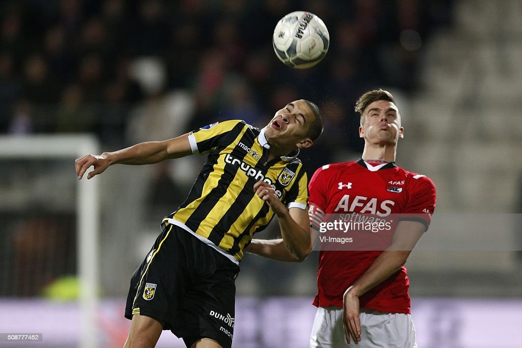 , Kevin Diks of Vitesse, Markus Henriksen of AZ Alkmaar during the Dutch Eredivisie match between AZ Alkmaar and Vitesse Arnhem at AFAS stadium on February 06, 2016 in Alkmaar, The Netherlands