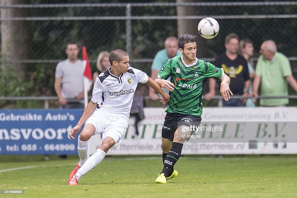 Kevin Diks of Vitesse, Pierre Bourdin of Cercle Brugge during the friendly match between Vitesse and Cercle Brugge on July 4, 2014 at Sportpark Loenermark at Loenen, The Netherlands.