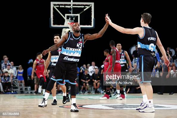 Kevin Dillard and Kirk Penney of the Breakers celebrate during the round 16 NBL match between the New Zealand Breakers and the Perth Wildcats at...