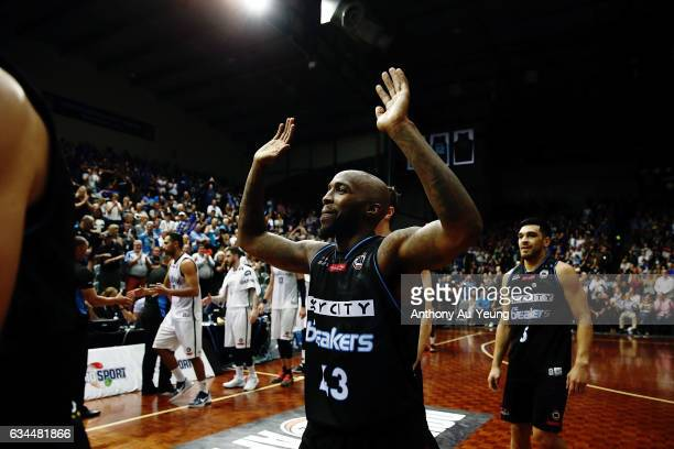 Kevin Dillard of the Breakers celebrates after winning the round 19 NBL match between the New Zealand Breakers and Melbourne United at North Shore...