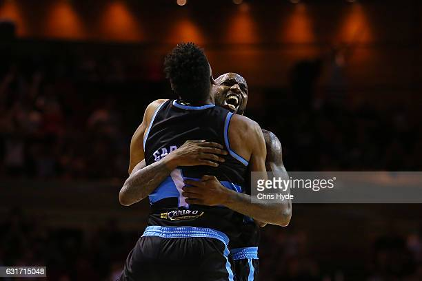 Kevin Dillard of the Breakers celebrates winning the round 15 NBL match between the Brisbane Bullets and the New Zealand Breakers at Brisbane...