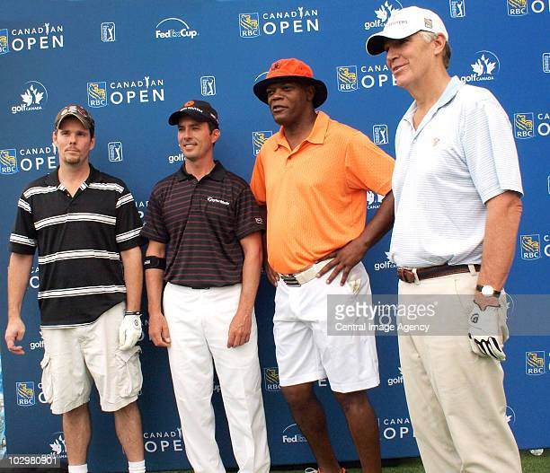 Kevin Dillon Mike Weir Samuel L Jackson and Gord Nixon pose during the RBC Canadian Open on July 19 2010 in Toronto Ontario Canada
