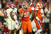 Kevin Dodd of the Clemson Tigers reacts after a play in the second quarter against the Alabama Crimson Tide during the 2016 College Football Playoff...