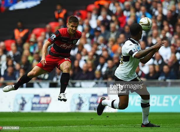 Kevin Doyle of Queens Park Rangers shoots on goal during the Sky Bet Championship Playoff Final between Derby County and Queens Park Rangers at...