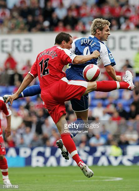 Kevin Doyle of Reading and Emanuel Pogatetz of Middlesbrough battle for the header during the Barclays Premiership match between Reading and...