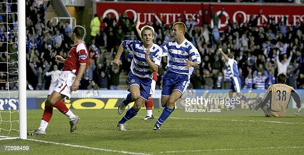 Kevin Doyle of Reading celebrates his goal during the Barclays Premiership match between Reading and Charlton Athletic at the Madejski Stadium on...