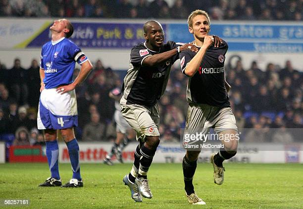 Kevin Doyle of Reading celebrates his goal with Leroy Lita during the Coca Cola Championship match between Ipswich Town and Reading at Portman Road...