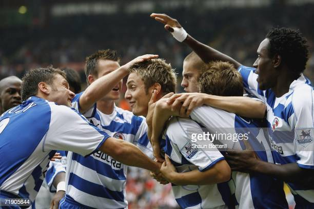 Kevin Doyle of Reading is congratulated by teammates after scoring during the Barclays Premiership match between Sheffield United and Reading at...