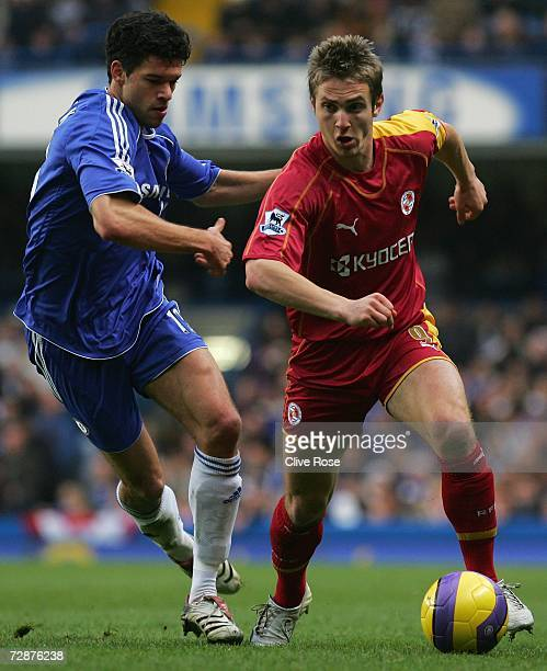 Kevin Doyle of Reading is shut down by Michael Ballack of Chelsea during the Barclays Premiership match between Chelsea and Reading at Stamford...