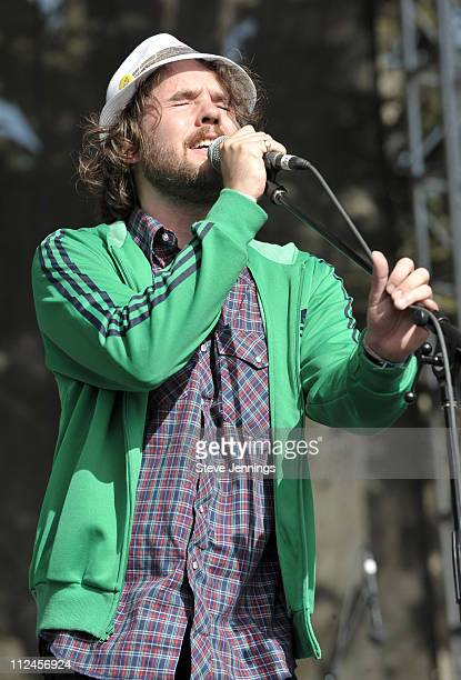 Kevin Drew of Broken Social Scene performs on Day 3 of the Outside Lands Music and Arts Festival on August 24 2008 in San Francisco California