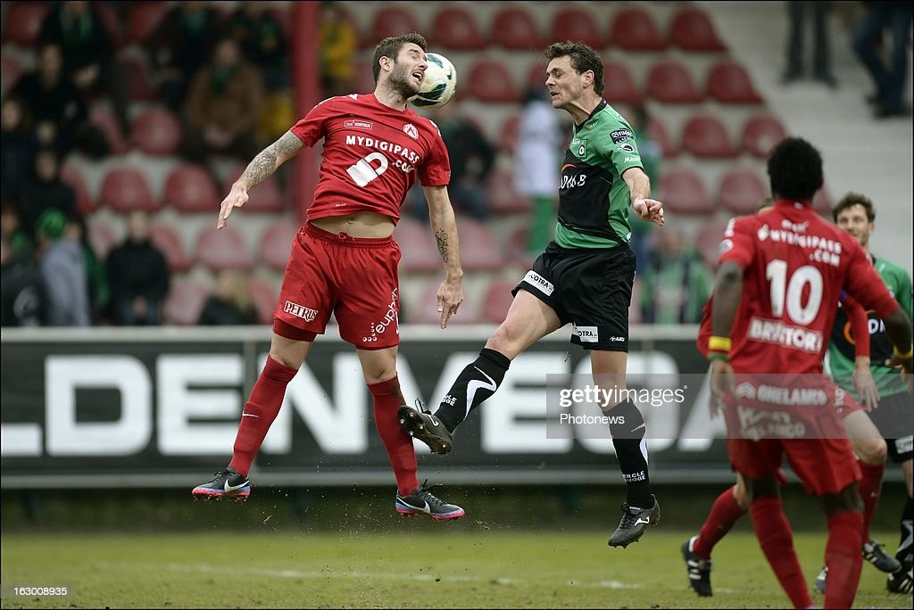 Kevin Dupuis of KV Kortrijkin competes with Wils Stef of Cercle Brugge during the Cofidis Cup semi-final match between KV Kortrijk and Cercle Brugge in the Guldensporen stadium on March 03, 2013 in Kortrijk, Belgium.