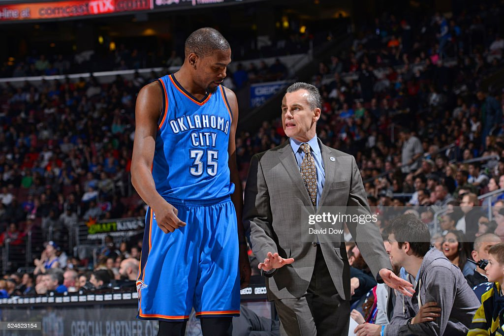 Kevin Durant #35 and Billy Donovan of the Oklahoma City Thunder talk during the game against the Philadelphia 76ers at the Wells Fargo Center on March 18, 2016 in Philadelphia, Pennsylvania.