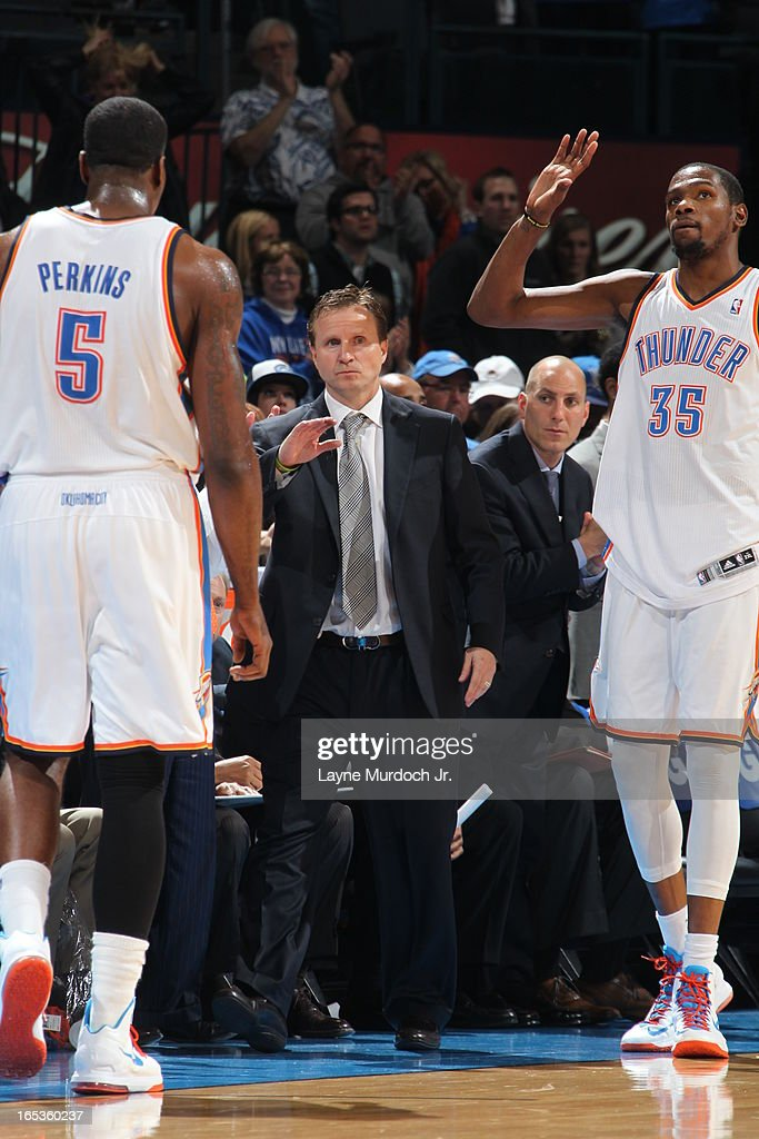 <a gi-track='captionPersonalityLinkClicked' href=/galleries/search?phrase=Kevin+Durant&family=editorial&specificpeople=3847329 ng-click='$event.stopPropagation()'>Kevin Durant</a> #35 and <a gi-track='captionPersonalityLinkClicked' href=/galleries/search?phrase=Kendrick+Perkins&family=editorial&specificpeople=211461 ng-click='$event.stopPropagation()'>Kendrick Perkins</a> #5 of the Oklahoma City Thunder walk off the court during the game against the Los Angeles Lakers on March 05, 2013 at the Chesapeake Energy Arena in Oklahoma City, Oklahoma.
