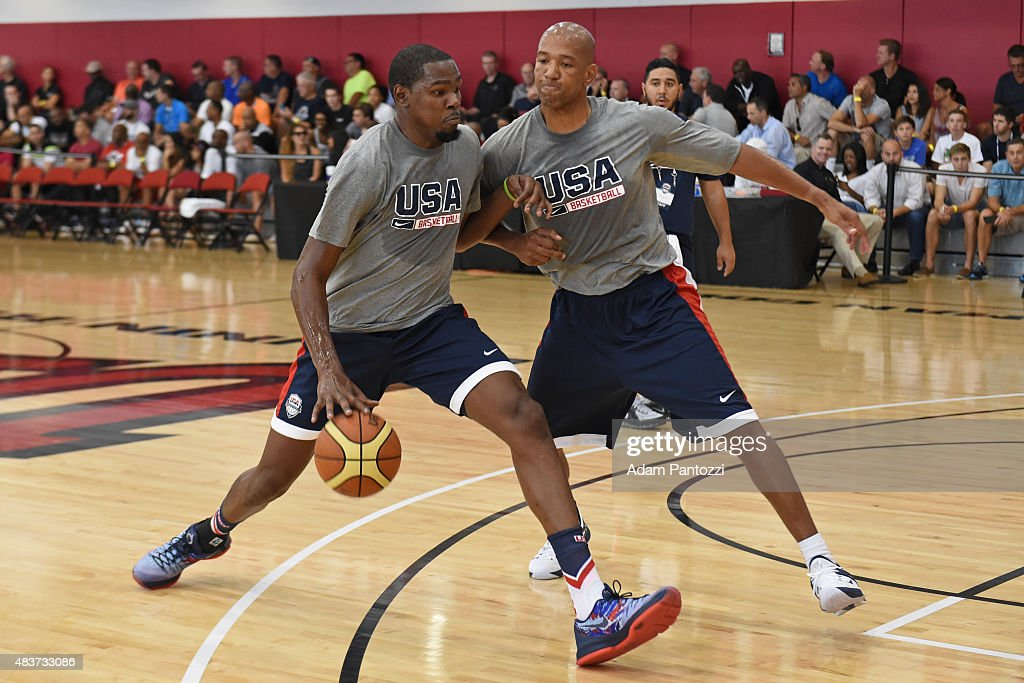 Kevin Durant and Monty Williams of the USA National Team participate in a minicamp at UNLV on August 11 2015 in Las Vegas Nevada NOTE TO USER User...