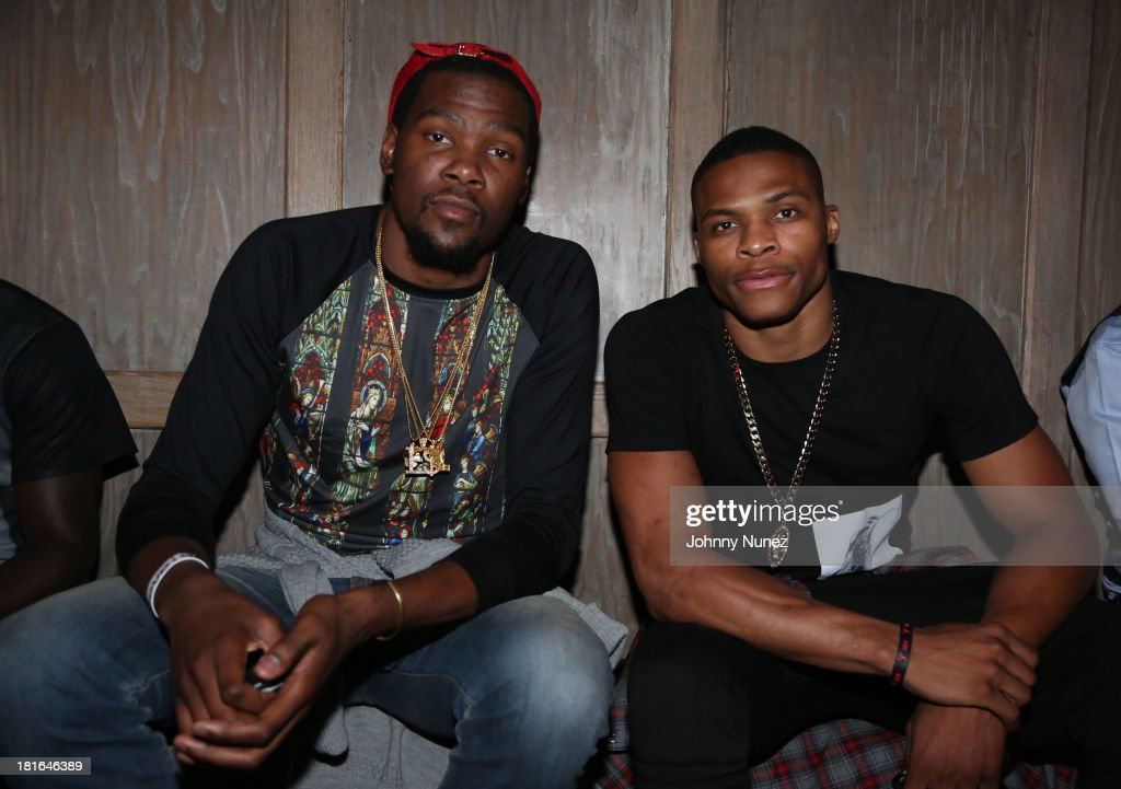 Kevin Durant and Russell Westbrook attend Kevin Durant's 25th Birthday Party at Avenue on September 22, 2013 in New York City.