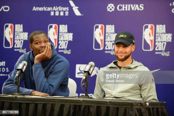 Kevin Durant and Stephen Curry of the Golden State Warriors speaks to the media after the game against the Minnesota Timberwolves as part of the 2017...