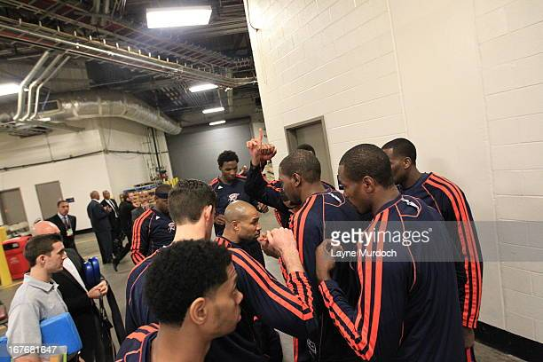 Kevin Durant and the Oklahoma City Thunder arrive for the Game Three of the Western Conference Quarterfinals between the Houston Rockets and the...