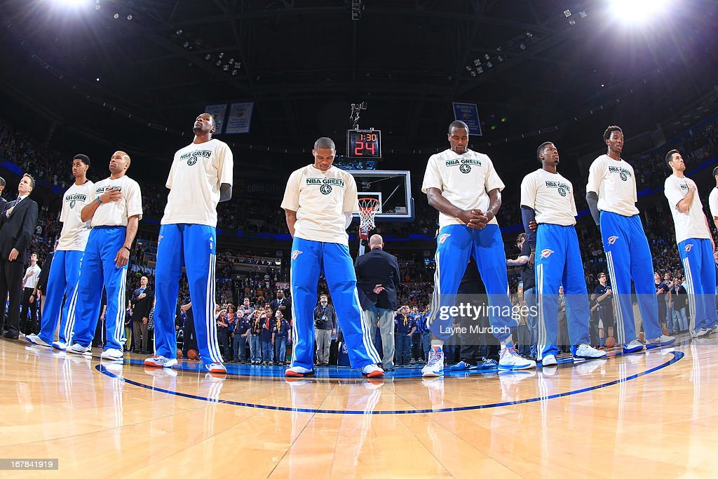 <a gi-track='captionPersonalityLinkClicked' href=/galleries/search?phrase=Kevin+Durant&family=editorial&specificpeople=3847329 ng-click='$event.stopPropagation()'>Kevin Durant</a> #35 and the Oklahoma City Thunder line up before the game against the San Antonio Spurs on April 4, 2013 at the Chesapeake Energy Arena in Oklahoma City, Oklahoma.