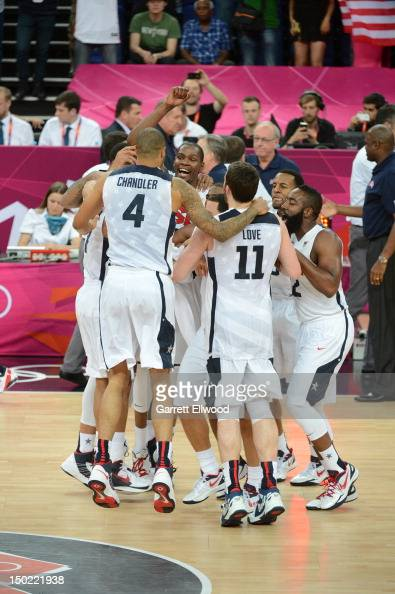 Kevin Durant and the US Men's Senior National Team celebrates against Spain during their Men's Gold Medal Basketball Game on Day 16 of the London...