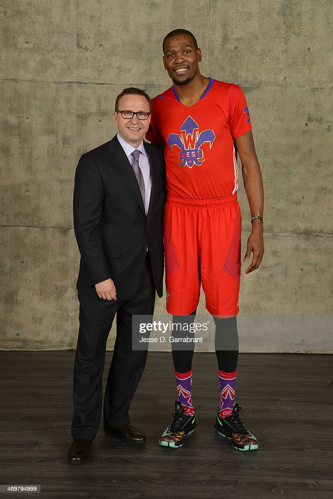 Kevin Durant #35and Head Coach Scott Brooks of the Western Conference All-Stars pose for a portrait prior to the of the 2014 NBA All-Star Game on February 16, 2014 at the Smoothie King Center in New Orleans, Louisiana.
