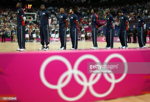 Kevin Durant Lebron James Russell Westbrook Deron Williams Andre Iguodala Kobe Bryant Kevin Love and James Harden of United States line up for...