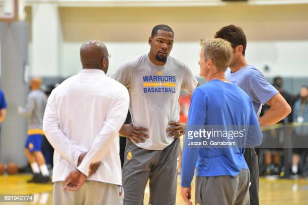 Kevin Durant Mike Brown and Steve Kerr of the Golden State Warriors participate during practice and media availability as part of the 2017 NBA Finals...